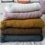 Luxury French Linen Tassel Blanket Super Soft Breathable 2 Layers Flat Sheet