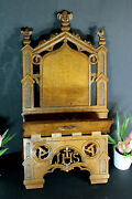 Antique French Religious Altar Church Bible Stand Lectern Wood Carved