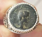 Authentic Ancient Coin Of Caesar Germanicus Father Of Caligula 925 Silver Ring