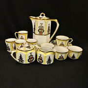 Nippon Chocolate Pot 8 Cups And Saucers Creamer Sugar Art Deco M-in-wreath 1911-18