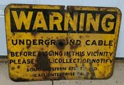 Antique Southwestern Bell Warning Underground Cable Metal Sign Decor Collectible