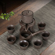 Leisure Stone-milled Lazy Half-full Rotating Ceramic Teapot As A Gift For Father