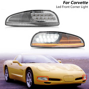 Sequential Clear Led Front Turn Signal Light Corner For 97-04 Chevy Corvette C5