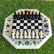 Stone Chess Set With Marble Board Handmade Inlay Sofa Side Table Game For Gift
