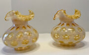 """Pair Of Fenton Opalescent Coin Dot Honeysuckle Lamp Shade 7"""" Tall, 3 1/4"""" Fitter"""