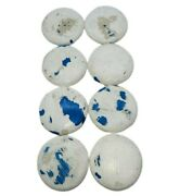 Wooden Pull Knobs Drawer Furniture Handles 8pcs Chippy White Blue Distressed