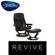 Stressless Consul Leather Armchair Incl. Stool Black Function Relaxfunktion