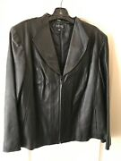 Kasper Woman 3x Genuine Leather Jacket Black Long Sleeve Perfect Preowned Cond