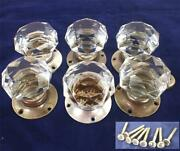Six Antique Or Vintage Cut Glass Door Knobs With Star Pattern