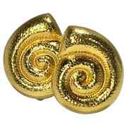 Intricately Hand Finished 18k Gold Greek Nautilus Shell Design Earrings