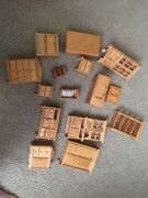 Vintage Lot Of Wooden Miniature Doll House Furniture