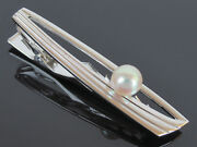 Authentic Mikimoto Genuine Akoya 7mm Pearl Sterling Silver Tie Bar Clip Clasp