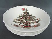 4x Churchill Earthenware Christmas Tree Bowls Soup Cereal Salad Pasta Serving