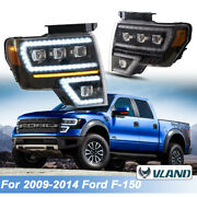 For 2009-14 Ford F150 Projector Headlights +sequential Turn Signal Led Clear