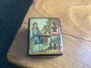 Antique 19th Century Wooden Snuff/pill Box Hand Painted Vg Condition C1850