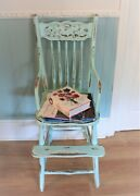 Vintage Shabby Chic Blue Child Decorative Wooden High Chair