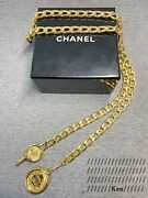 Belt Chain Auth Coco Mark Vintage Rare Logo Coin Medal Gold Circle F/s