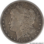 1893-cc Morgan Silver Dollar Pcgs And Cac Vf30 Low Mintage Better Date