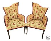 Antique French Art Deco Nouveau Newly Upholstered Fireside Armchairs W Tassels