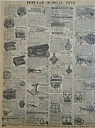 1911 Antique Musical Toys Sears Catalog Page Vintage Print Ad