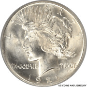 1921 Silver Peace Dollar High Relief Pcgs Ms63 Nice White Coin