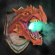 Dragon Sculpture Smoke And Fire Wall Mounted Home Decor Led Lights
