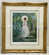 Alan Maley Signed Gold Ornate Frame Victorian Secluded Garden Lithograph Le