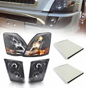 Black Headlight And Fog Light Set And Cabin Air Filters For Volvo 2004-2017 Vnl Vn