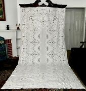 Antq Richelieu Chee Foo Hand Embroidered White Heavy Banquette Tablecloth 137x70