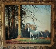 Jennings British, Grey Pony, Country Horse Portrait Large Antique Oil Painting