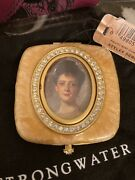 New In Box Jay Strongwater Compact Mirror With Picture Frame Enamel And Crystals