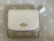 Nwt Coach Small Wallet In Signature Canvas Light Khaki/chalk Leather
