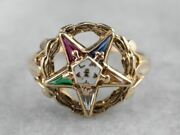 Vintage Gold Order Of The Eastern Star Ring