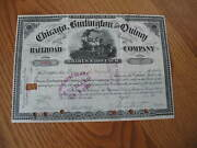 1901 Chicago Burlington And Quincy Railroad Stock Certificate Document Stamp Il