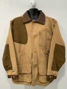 Vintage Mens Beretta Hunting Shooting Jacket Size L Tan Beige Leather / Cotton