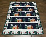 Vintage Christmas Throw Quilt Cotton Patchwork Wall Hanging Snowy Night 50x58