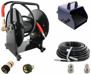 Scheiffer Sewer Jetter Kit - Foot Pedal Hose Reel 3/8 X 150and039 Hose And Nozzles