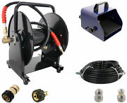 Scheiffer Sewer Jetter Kit - Foot Pedal Hose Reel 3/8 X 100and039 Hose And Nozzles
