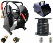 Scheiffer Sewer Jetter Kit - Foot Pedal Hose Reel 3/8 X 200and039 Hose And Nozzles