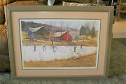 David Armstrong Print 1987 Farm Pond Hand Signed 89 Low Number Framed And Mint