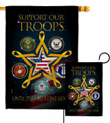 Support Our Military Troops Garden Flag Service Armed Forces Yard House Banner