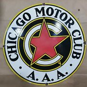 Chicago Motor Club Porcelain Sign 30 Inches Round