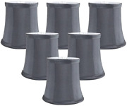 Meriville Set Of 6 Gray Faux Silk Clip On Chandelier Lamp Shades, 3.5-inch By 4.