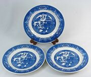 3 Willow Ware Large Dinner Plates 10 Inch Blue Dishes By Royal China