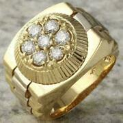 1.50 Ct Round Cut Diamond Menand039s Rolex Designer Ring Solid 14k Yellow Gold Over