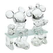 Mickey And Minnie On Glass Bench, By Arribas And Disneyland Original Large