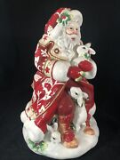 Vintage Fitz And Floyd Town And Country Santa Rabbits Fox Red Cookie Jar Christmas