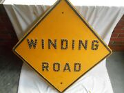 Vintage Winding Road-yellow Road Street Sign-30 X 30 W/ 121 Glass Cat Eyes