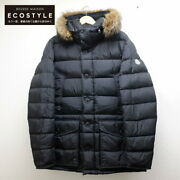 Moncler Domestic Regular Cluny Nylon Arm Logo Patches/fur Hooded Down Jacket
