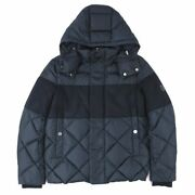 Moncler Orbanton Wool Switching Down Jacket Mens Navy Logo Patches Hooded